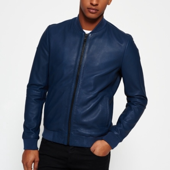 e600189da Superdry Men's Idris Elba Leather Jacket. Blue. XL